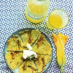 Pfannkuchen mit Zucchiniblüten und Ziegenfrischkäse